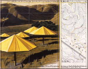 CHRISTO : THE UMBRELLAS A+B (YELLOW / 2 PARTS), 1990, A: 77.5x66.7cm, 30 1/2x26 1/4in., B:77.5x30.5cm, 30 1/2x12in., pencil, fabric, pastel, charcoal, crayon, enamel paint and map
