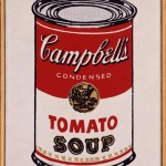 RICHARD PETTIBONE : ANDY WARHOL, SOUP CAN, 1963, 1969, synthetic polymer paint and silkscreen on canvas in artist's frame, 12.7 x 10.1 cm