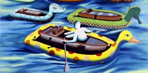 MARK KOSTABI : TANKER TOYS, 1990, oil on canvas, 46x91cm