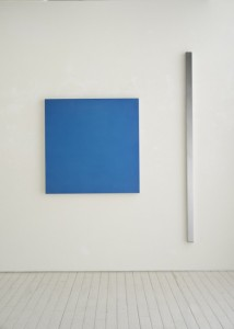 "GERHARD MERZ ""CONSTRUIRE(BLUE)"" 1991, ED 2/5, 180 x 6 x 6 cm, 71 x 2 1/2 x 2 1/2 in., aluminum, anodized in color, and aluminum polished and anodized(clear)"
