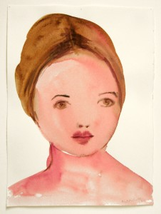 KIM McCARTY《GIRL, MAUVE BUN》2002, 36.8 x 27.9 cm, 14 1/2 x 11 in., watercolor on paper