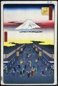 HIROSHIGE UTAGAWA《SURUGA-CHO》1856, 35.8 x 24.4 cm, 14 1/16 x 9 5/8 in., ukiyoe