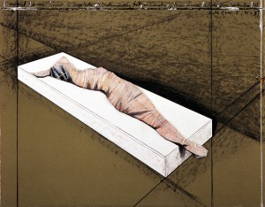 CHRISTO《WRAPPED WOMAN (PROJECT FOR INSTITUTE OF CONTEMPORARY ART, UNIVERSITY OF PENNSYLVANIA, PHILADELPHIA / SEPTEMBER 1968)》1968, ED 51/125, 55.4 x 71 cm, 21 3/4 x 28 in., offset lithograph in colours with collage of fabric and cord with handcolouring on board